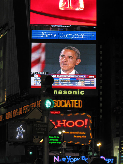 the little man's Times Square view of Barack Obama's election victory