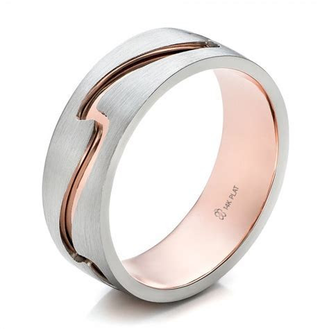 Custom Men's Two Tone Rose Gold and Platinum Band #100819