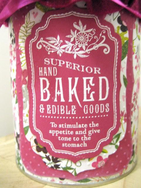 choc shortbread tin label  close up