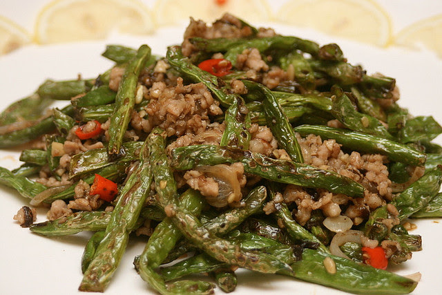 Stir Fried French Bean with Minced Pork and Garlic