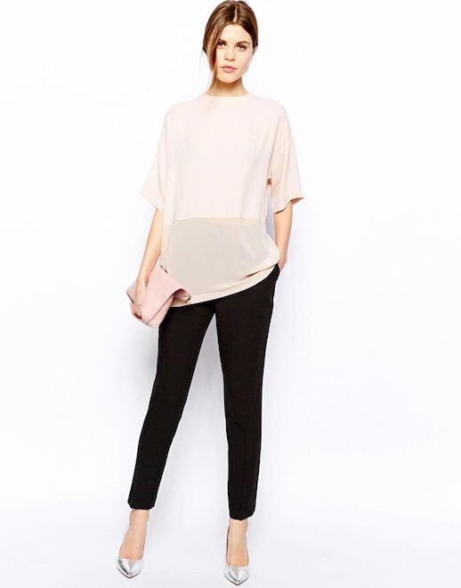 Le Fashion Blog Gimme Gimme Sheer Contrast Blush Top Silver Pumps Nude ASOS Sheer and Solid Longline T-Shirt Pastel Light Pink clutch Bag Cropped Black Pants Metallic Silver Heels Trouser 2 photo Le-Fashion-Blog-Gimme-Gimme-Sheer-Contrast-Blush-Top-Silver-Pumps-2.jpg