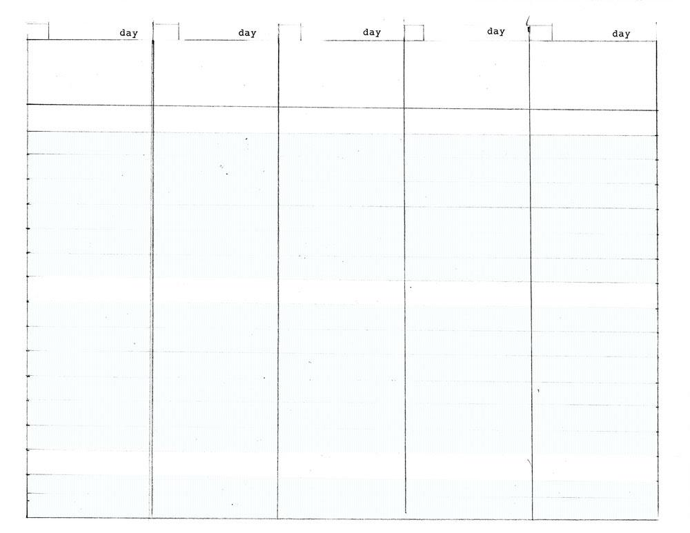 5 Day Planner Calendar Template