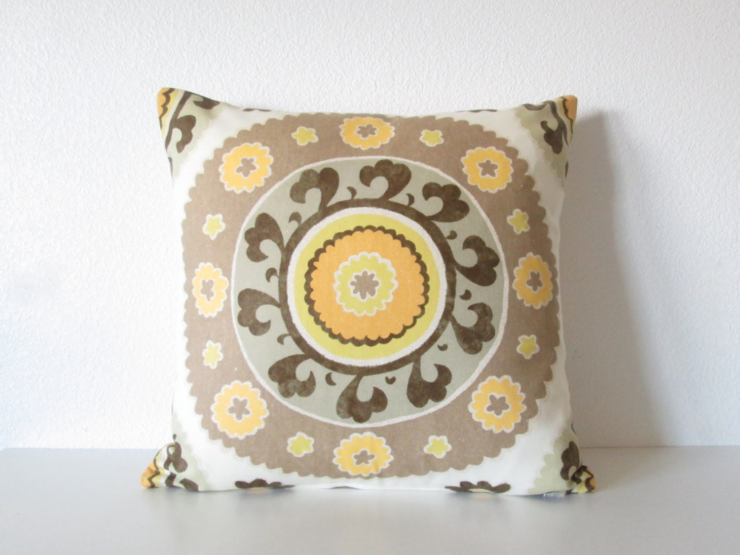 Decorative pillow cover - Throw pillow - Suzani pillow - 18x18 - Ivory - Taupe - Yellow - Suzani -  Medallion - Same Fabric on Both Sides - chicdecorpillows