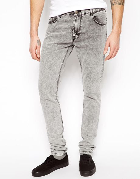 pullbear super skinny jeans in acid wash in gray for men