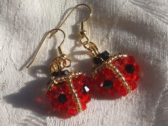 Ladybug earrings red spring summer cute bug