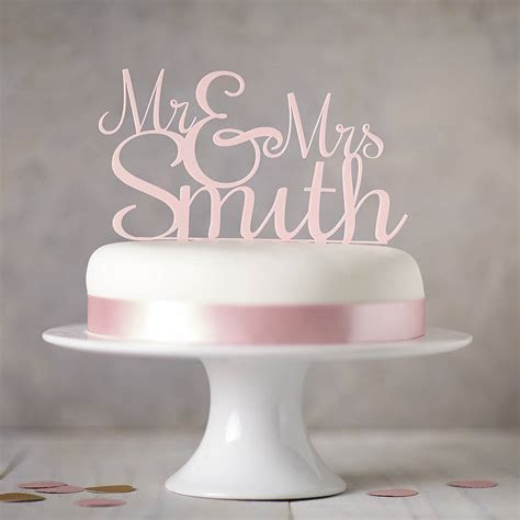 personalised 'mr and mrs' wedding cake topper by sophia