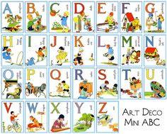 Vintage Alphabet Cards   Baby Room   Pinterest   Alphabet cards ...