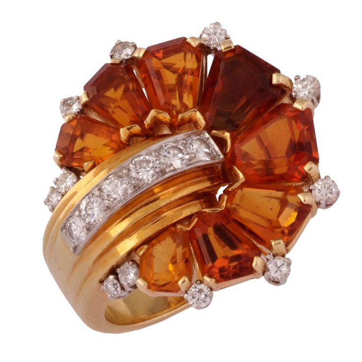 An Unusual Retro Citrine and Diamond Ring, ca. 1940s