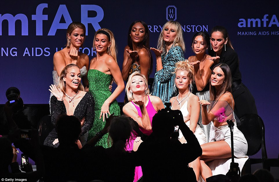 Taking the stage: The model army turned out, comprising (2nd row L-R) Hailey Clauson, Hailey Baldwin, Jourdan Dunn, Karolina Kurkova, Jasmine Sanders, Shanina Shaik, (first row L-R) Jasmine Sanders, Caroline Vreeland, Izabel Goulart, Lottie Moss and Alessandra Ambrosio