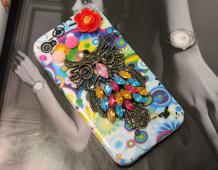 Back Front Hard Case Cover With Antique Brass Cute Owl Resin Flower for Apple iPhone 4 , iPhone 4s, iPhone 4 Hard Case, iPhone Case MB104