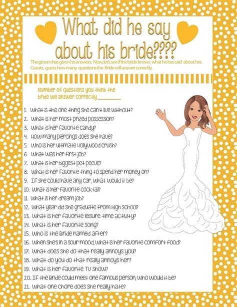 Wedding Shower Game What Did He Say? Printable Bridal