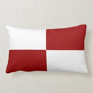 Red and White Rectangles Pillow
