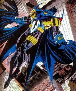 Azrael-Batman soars over Gotham in the comic book series KNIGHTFALL.