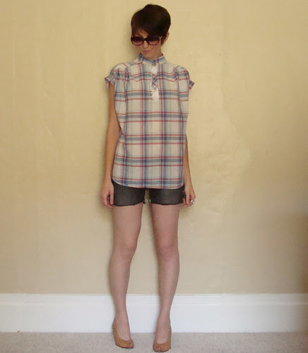 80s vintage rolled sleeve plaid blouse SO SOFT