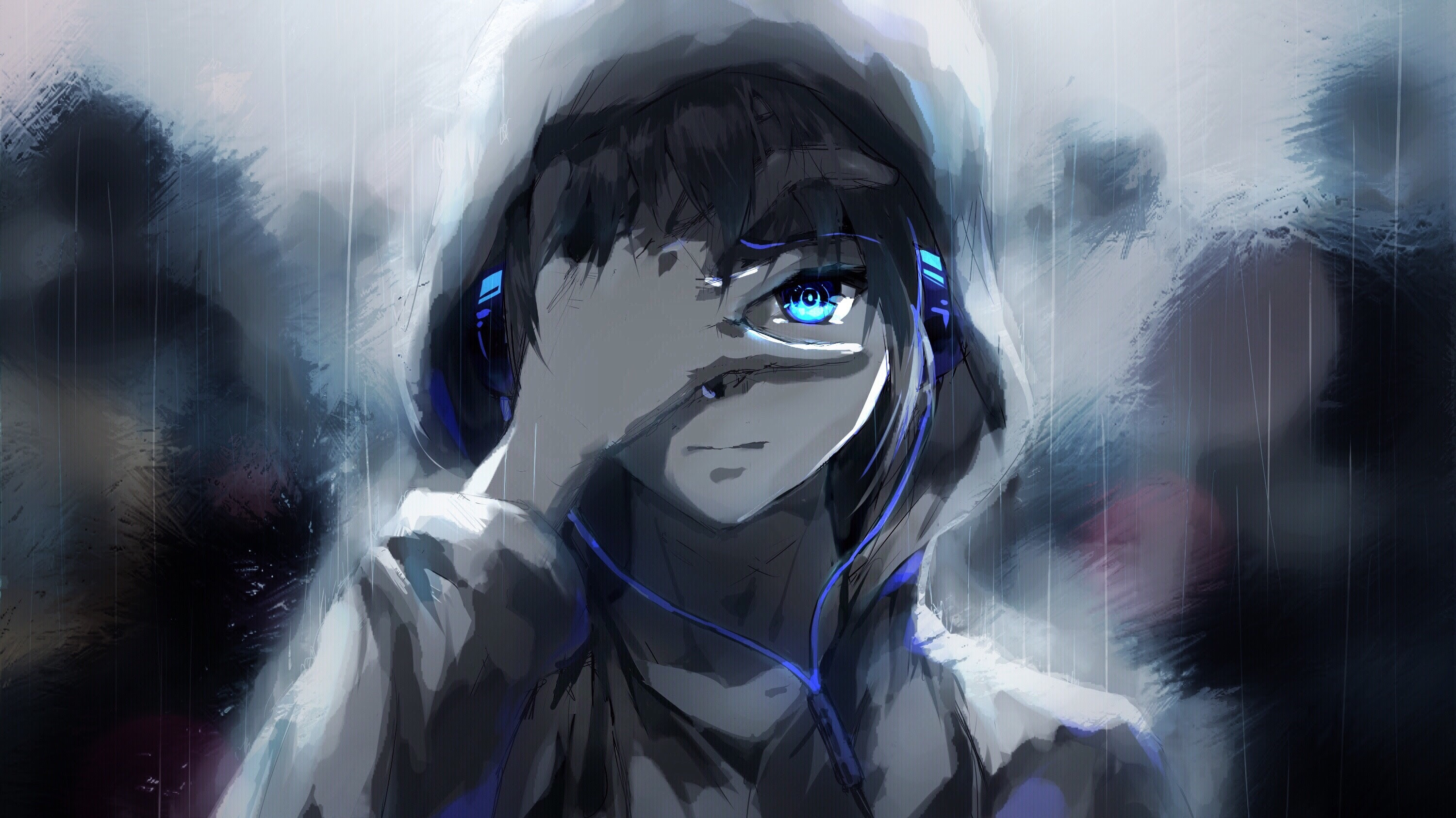 Download 1920x1080 Anime Boy, Hoodie, Blue Eyes, Headphones, Painting Wallpapers for Widescreen ...