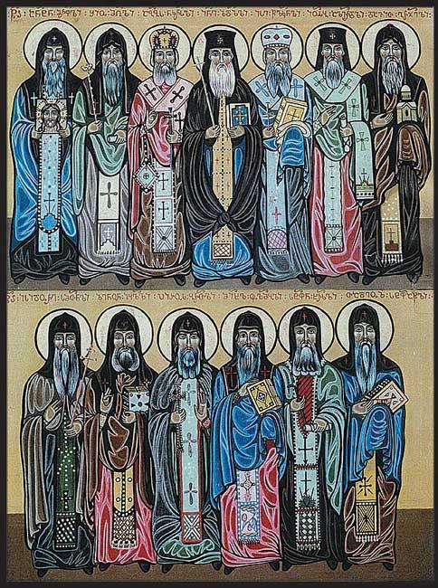 img STS. Shio of Mgvime, David of Gareji, Stephen of Khirsa, Isidore of Samtavisi, Michael of Ulumbo, Pyrrhus of Breta, Zeno of Iqalto, Jesse (Ise) of Tsilkani, Joseph of Alaverdi, Abibus of Nekressi