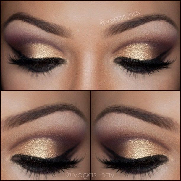 Purple, brown, and gold eyeshadow smokey eye.