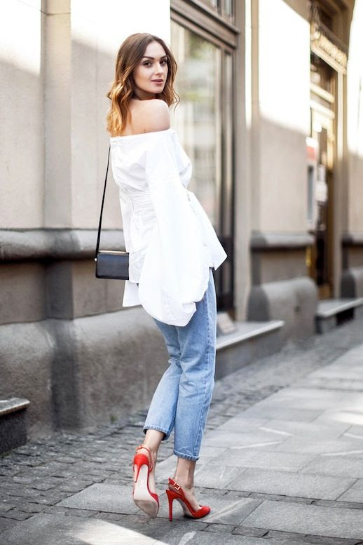 Le Fashion Blog Summer Date Style White Off The Shoulder Top With Bell Sleeves And Tie Front Details Black Crossbody Bag Slim Cropped Jeans Vibrant Red Sling Back Pumps Via Fashion Agony