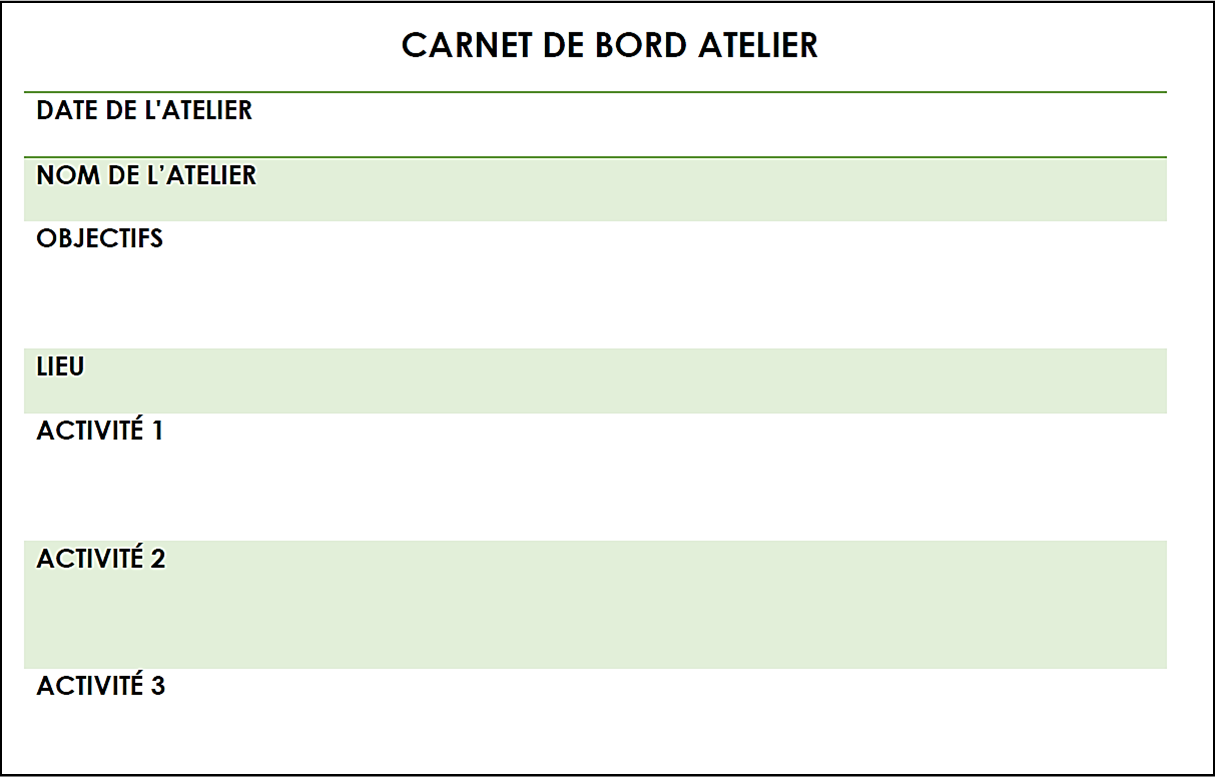 Carnet De Bord Projet Exemple