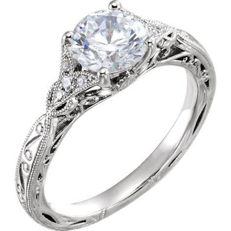 Semi Bezel Hammered Engagement Ring   Gabriel & Co. ER9058