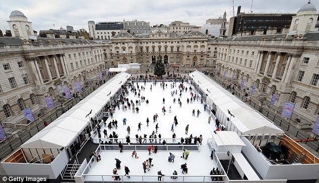 Ice-capades: Skaters at Somerset House in London today. The ice won't just be restricted to the rink next week as temperatures plunge to -9C