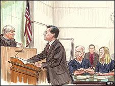 Dibujo de Walter Kendall Myers y su esposa Gwendolyn durante un juicio celebrado en junio. Foto: Art Lien