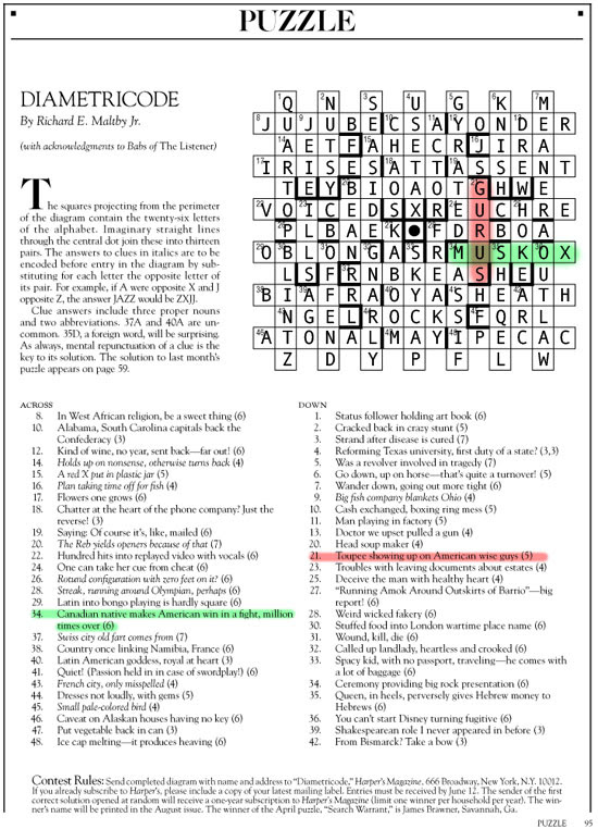 June 2015 | Diametricode | Harper's Cryptic puzzle solution