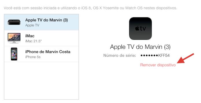 Iniciando a remoção de um dispositivo conectado a uma conta do iCloud (Foto: Reprodução/Marvin Costa)