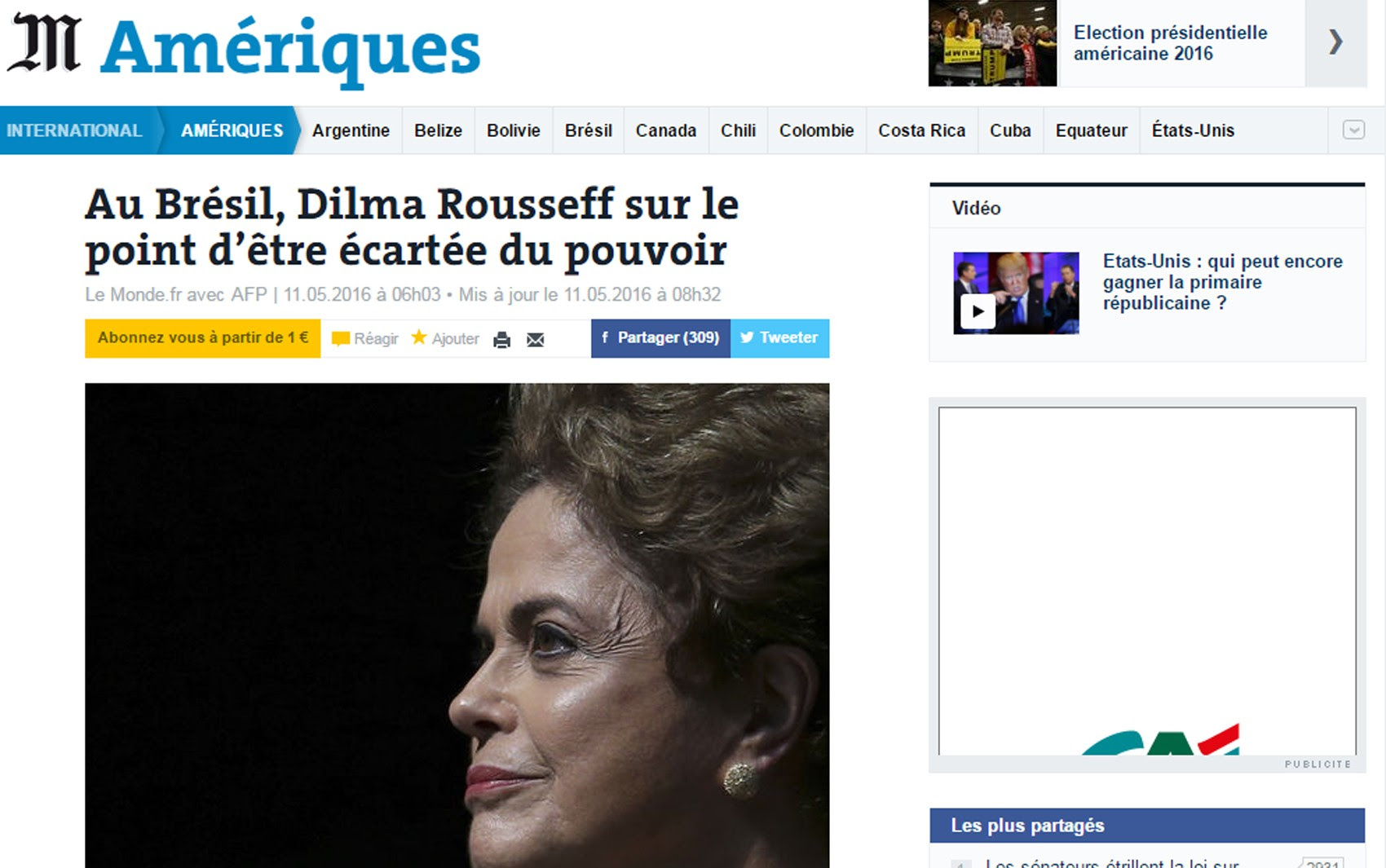Le Monde afirma que Dilma Rousseff 'suas últimas horas no comando do país' (Foto: Reprodução/G1)