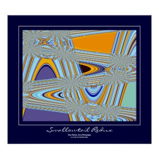 Swallowtail Redux Blue Border Print