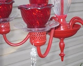 Ruby Red Candle Chandelier