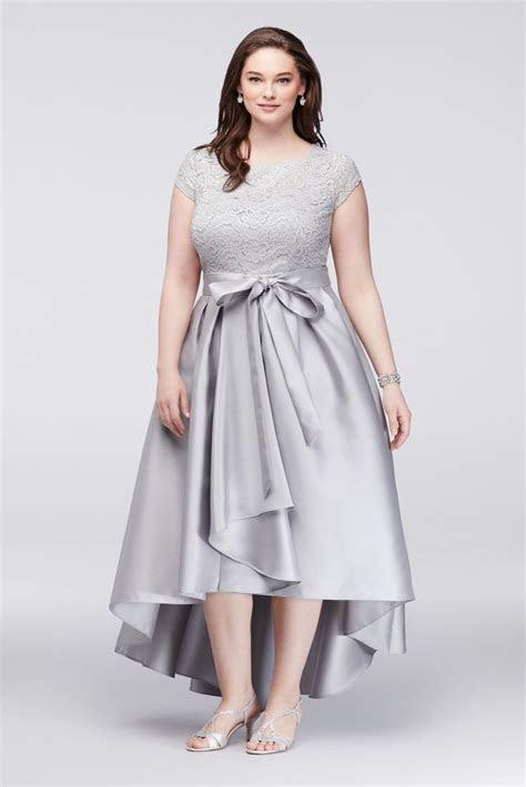 Off The Shoulder Lace and Mikado Plus Size Mother of Bride