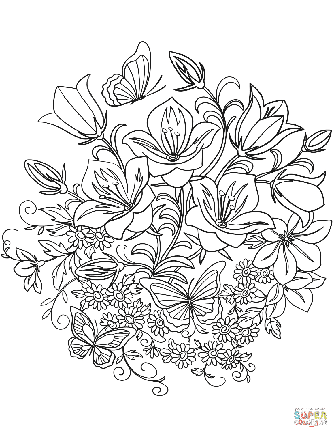 Butterfly And Flowers Coloring Page Free Printable Coloring Pages