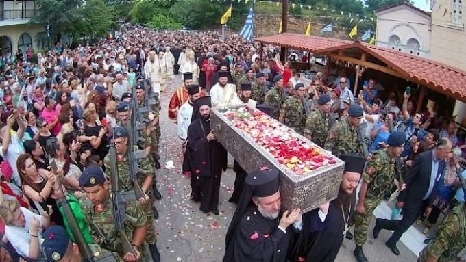 Μεγαλοπρεπής εορτασμός του Οσίου Ιωάννου του Ρώσσου στην Εύβοια (ΦΩΤΟ)