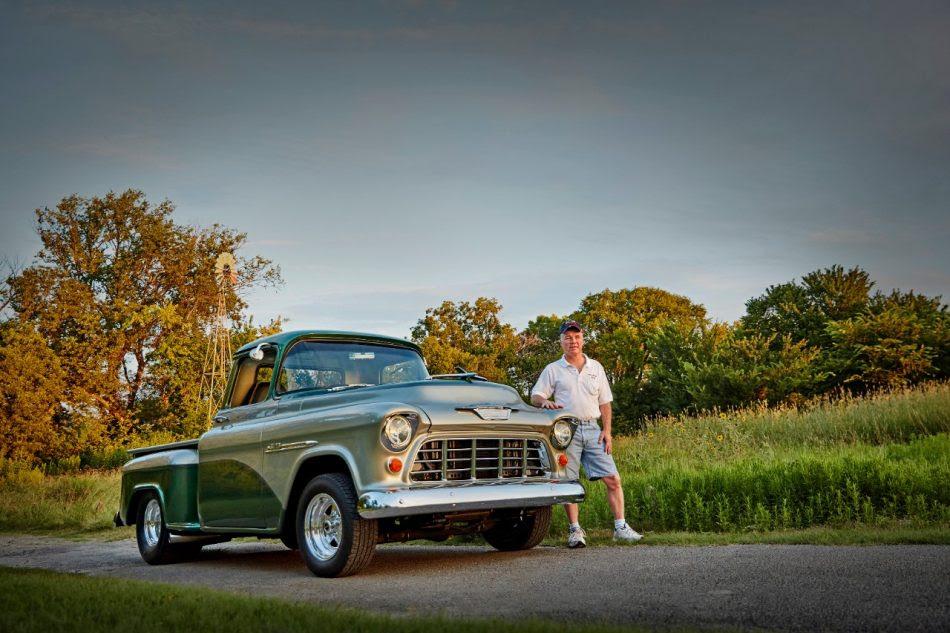 1955 3100 Series – Dale alongside his 1955 3100 Series. Dale has owned five Chevy trucks.