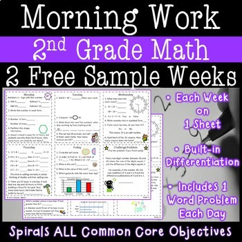 2nd Grade Daily Math Morning Work one week freebie (week 21)
