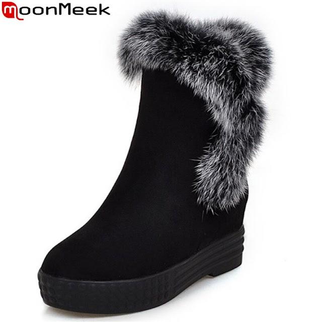 Beste Kopen MoonMeek 2018 Winter Snowboots Hoge Kwaliteit Mode Bont Vrouwen Laarzen Kudde Hoogte Toenemende Enkellaarsjes Goedkoop