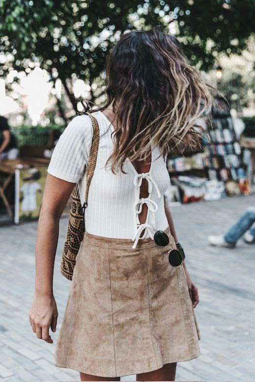 Le Fashion Blog Blogger Style Modern Boho Summer Look Layered Necklaces White Ribbed Triple Tie Front Top Brown Suede Skirt Via Collage Vintage