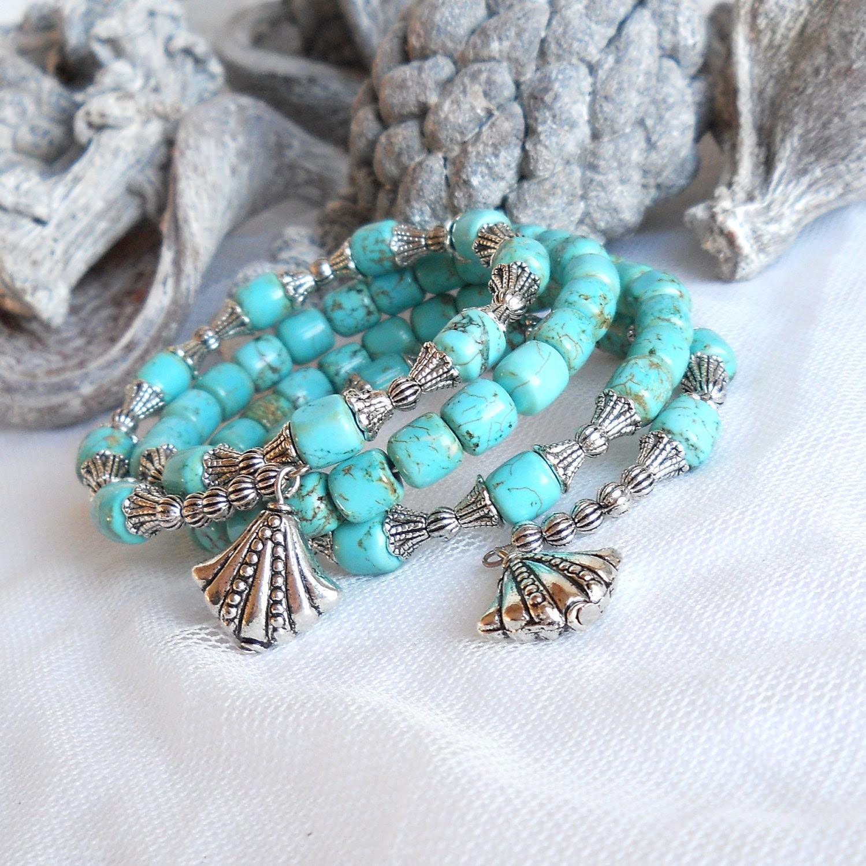 turquoise memory wire bracelet wrap around bracelet turquoise boho stone bracelet turquoise cuff bracelet - minouc