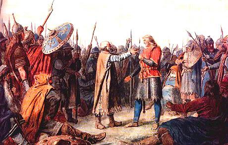 saint Olaf 1er est elu roi de Norvege, tableau du peintre norvegien Peter Nicolai Arbo, 1860