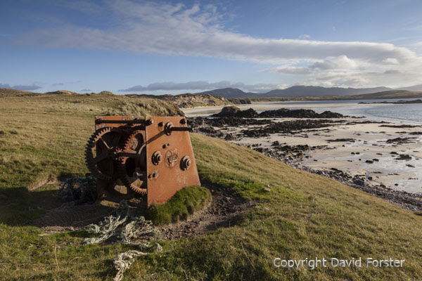 05D-7240 Old Winch For Fishing Boats and the View Across Balnakeil Bay Faraid Head Durness Sutherland North Wesy Coast of Scotland UK