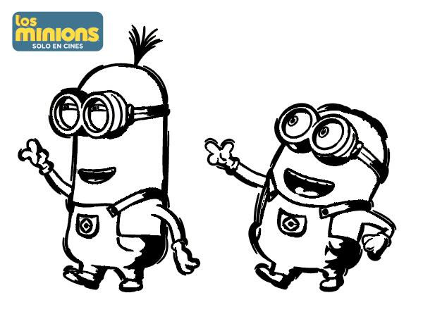 Dibujo De Minions Tom Y Dave Para Colorear Dibujosnet