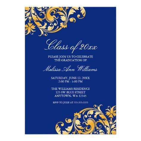 Blue Gold Swirl Graduation Party Announcement   Zazzle.com