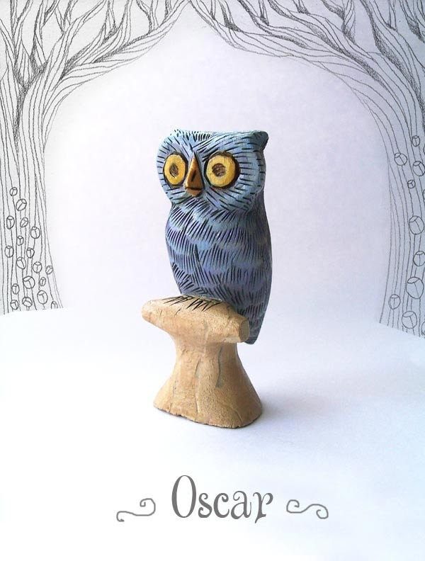 Oscar the Silvery Blue Owl - whimsical small wooden animal carving figurine sculpture - TheWishForest
