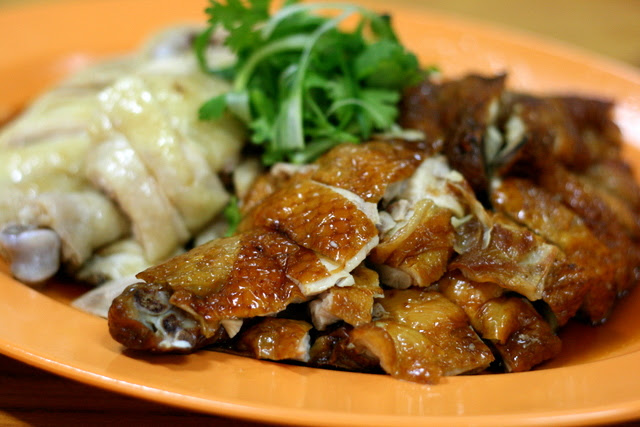 Roast and steamed chicken