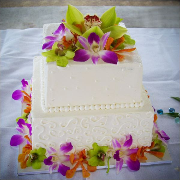 Colorful Orchid Wedding Cake