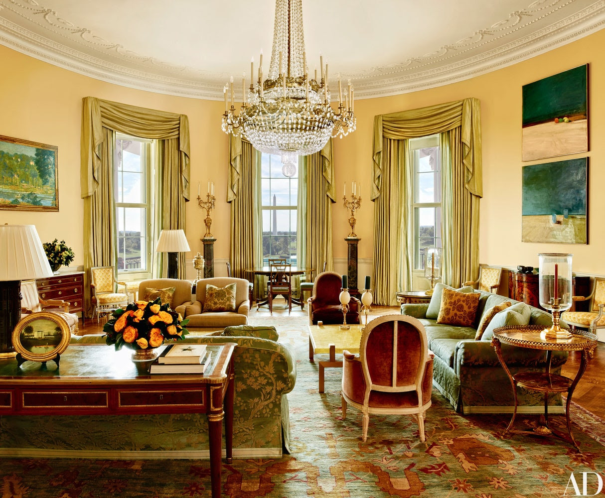 Smith mellowed the Yellow Oval Room with smoky browns, greens, golds, and blues. The 1978 Camp David peace accords were signed at the antique Denis-Louis Ancellet desk in the foreground.