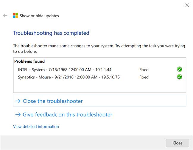 Cualquier actualización de Windows 10 que detenga se muestra como fija