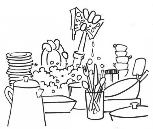 Dibujo De Lavando Platos Para Pintar Y Colorear Lavada De Platos