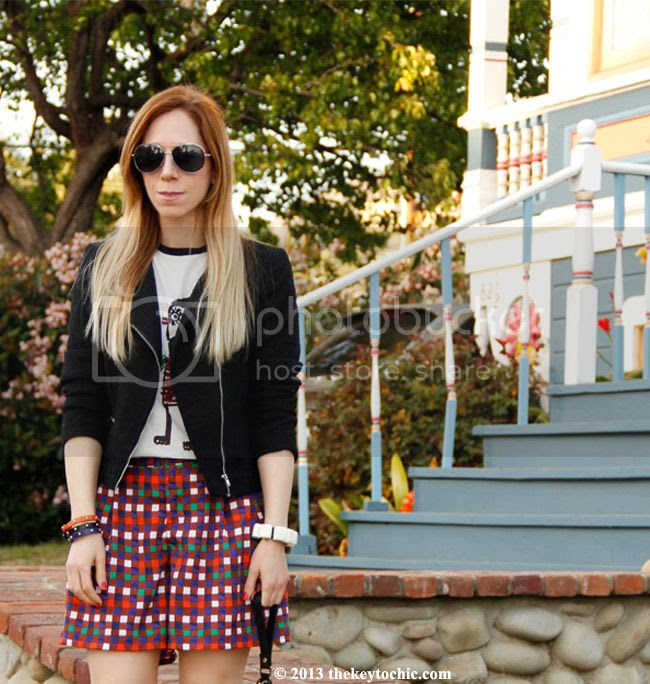 Duro Olowu for JCPenney plaid shorts, Marni at H&M T-shirt, Los Angeles fashion blog, H&M tweed blazer